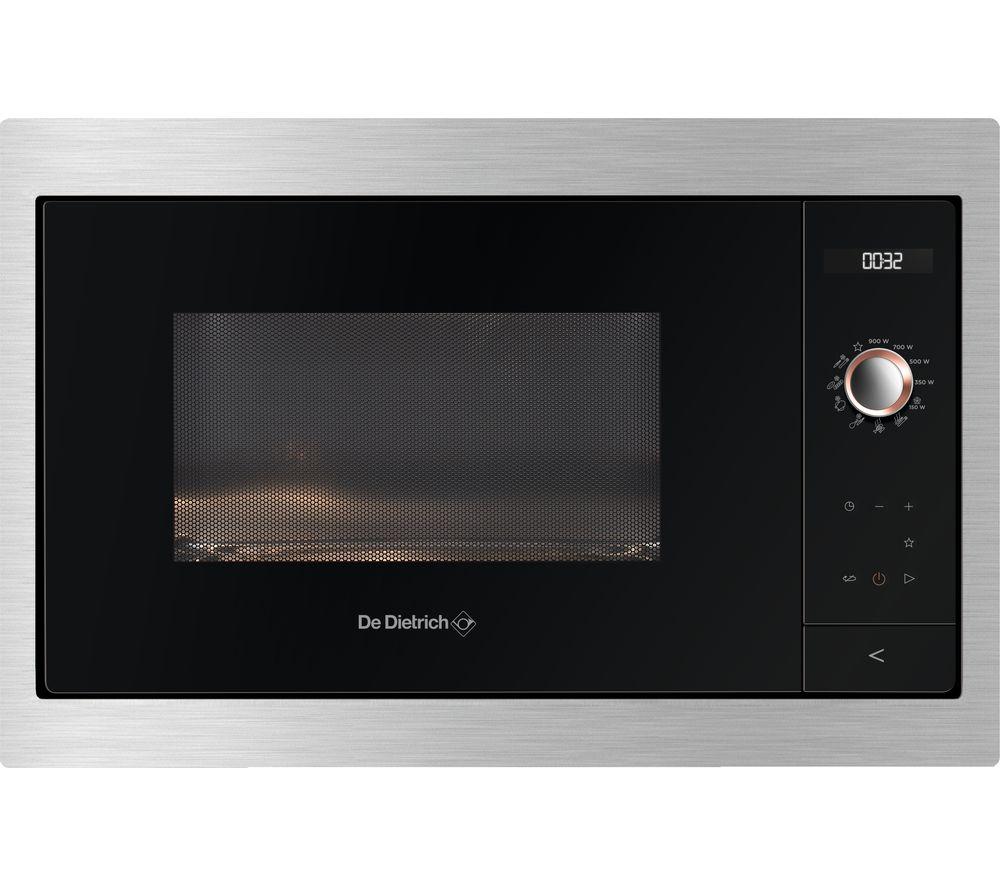 DE DIETRICH DME7121X Built-in Compact Solo Microwave - Black & Silver, Black