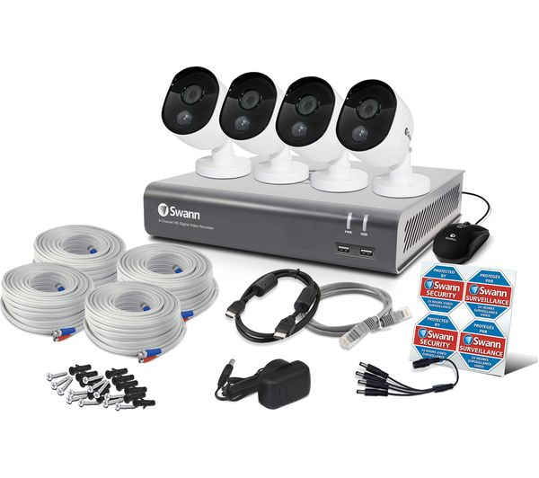 Image of SWANN SWDVK-845804V-UK 8-Channel Full HD 1080p Smart Security System - 1 TB, 4 Cameras