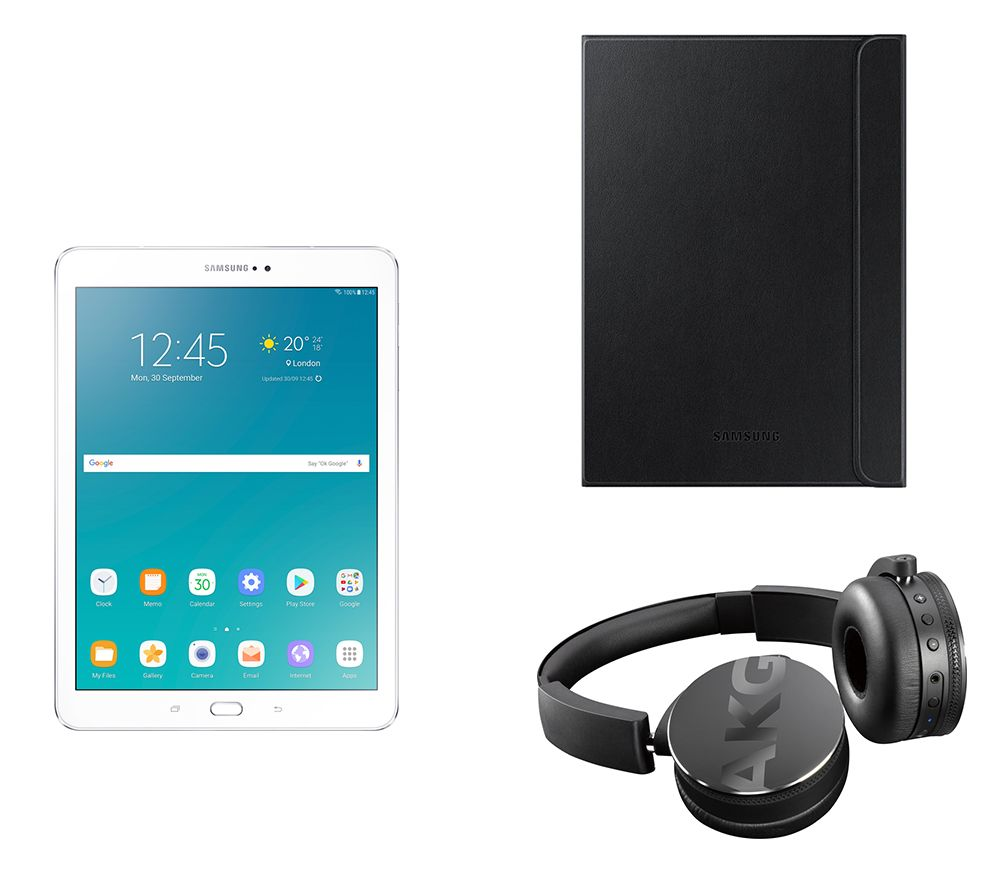 "Image of SAMSUNG Galaxy Tab S2 9.7"" Tablet, C50BT Wireless Bluetooth Headphones & Galaxy Tab S2 Folio Case Bundle - 32 GB, White, White"