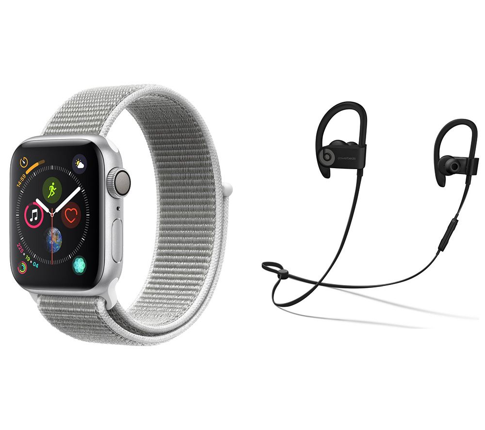 APPLE Watch Series 4 & Powerbeats3 Wireless Bluetooth Headphones Bundle - Silver & Seashell Sports Loop, 40 mm, Silver cheapest retail price