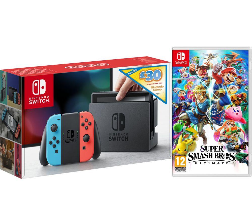 NINTENDO Switch Neon with £30 eShop Credit & Super Smash Bros. Ultimate Bundle