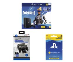 SONY PlayStation 4 Pro with Fortnite Neo Versa, Twin Docking Station & PlayStation Plus Bundle - 1 TB
