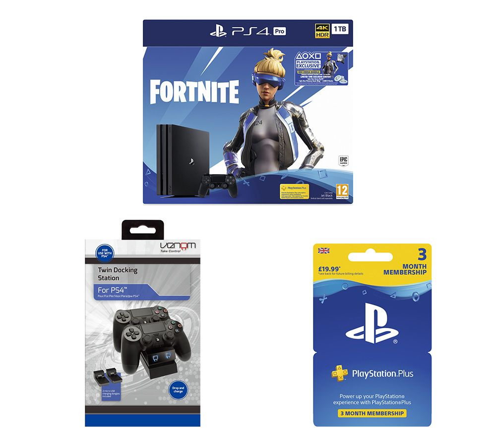 SONY PlayStation 4 Pro with Fortnite Neo Versa, Twin Docking Station & PlayStation Plus Bundle - 1 T