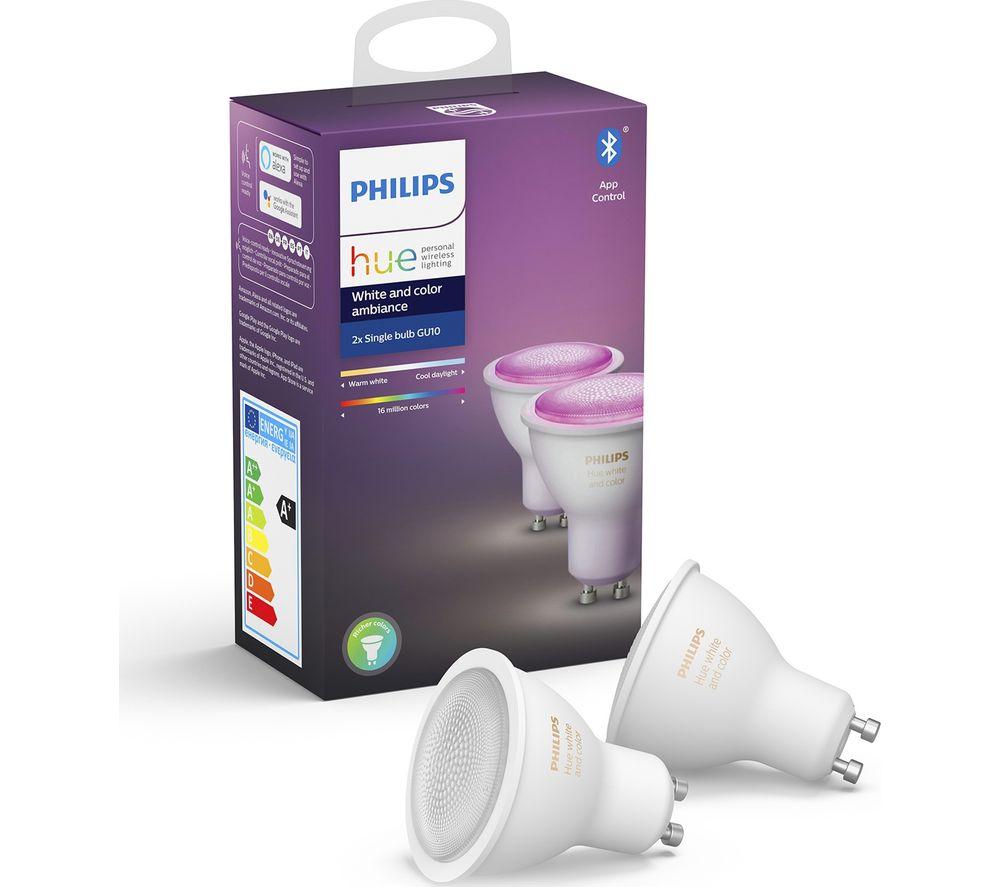 PHILIPS HUE Hue White & Colour Ambience Bluetooth LED Bulb - GU10, Twin Pack