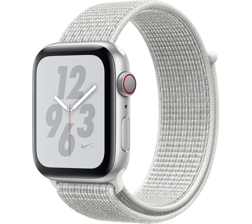 APPLE Watch Series 4 Cellular - Silver with Summit White Nike Sport Band, 44 mm