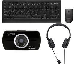 Home Office Meetings Bundle - Webcam, Headset & Keyboard & Mouse