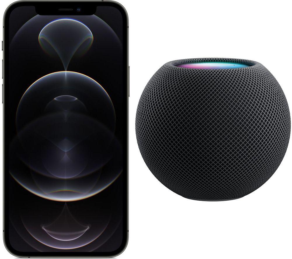 APPLE iPhone 12 Pro & Space Grey HomePod Mini Bundle - 128 GB, Graphite