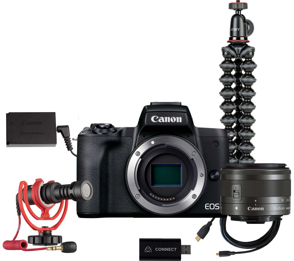 CANON EOS M50 Mark II Mirrorless Camera Live Streaming Kit with EF-M 15-45 mm f/3.5-6.3 IS STM Lens