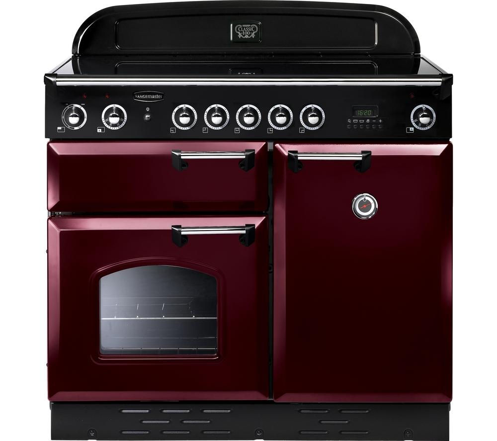 RANGEMASTER Classic 100 Electric Induction Range Cooker - Cranberry & Chrome