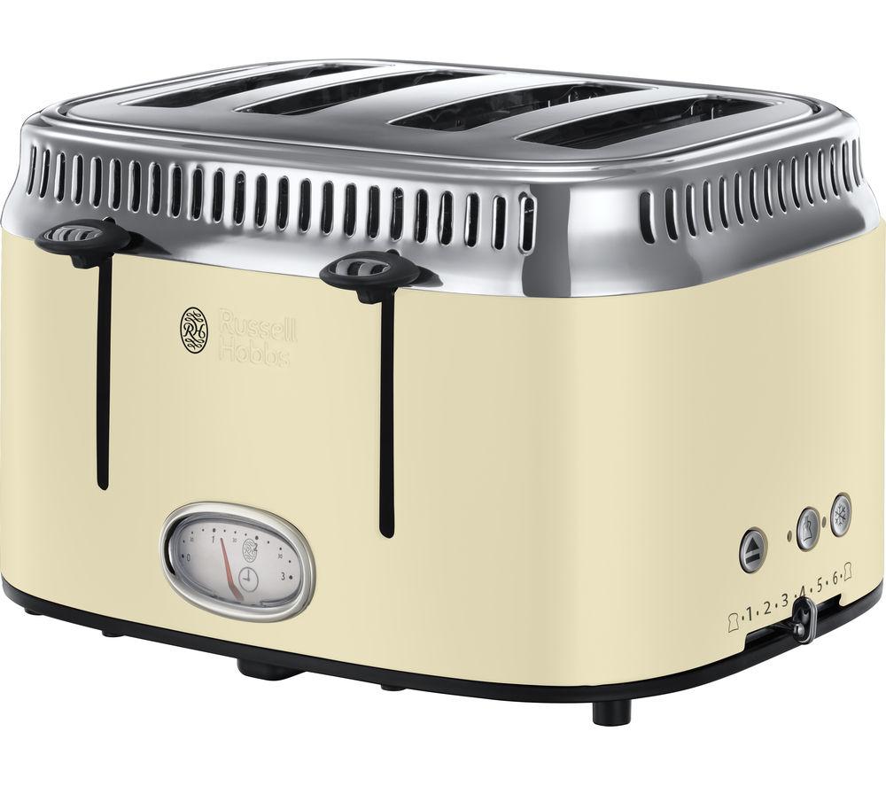 online retailer 57144 0b78c RUSSELL HOBBS Retro 21692 4-Slice Toaster - Cream
