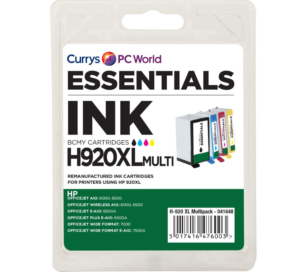 Compare retail prices of Essentials 920 XL Cyan Magenta Yellow and Black HP Ink Cartridges Multipack to get the best deal online