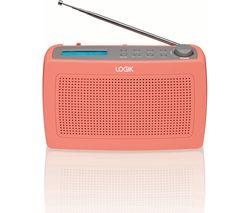 LOGIK LRDABP17 Portable DAB/FM Clock Radio - Peach