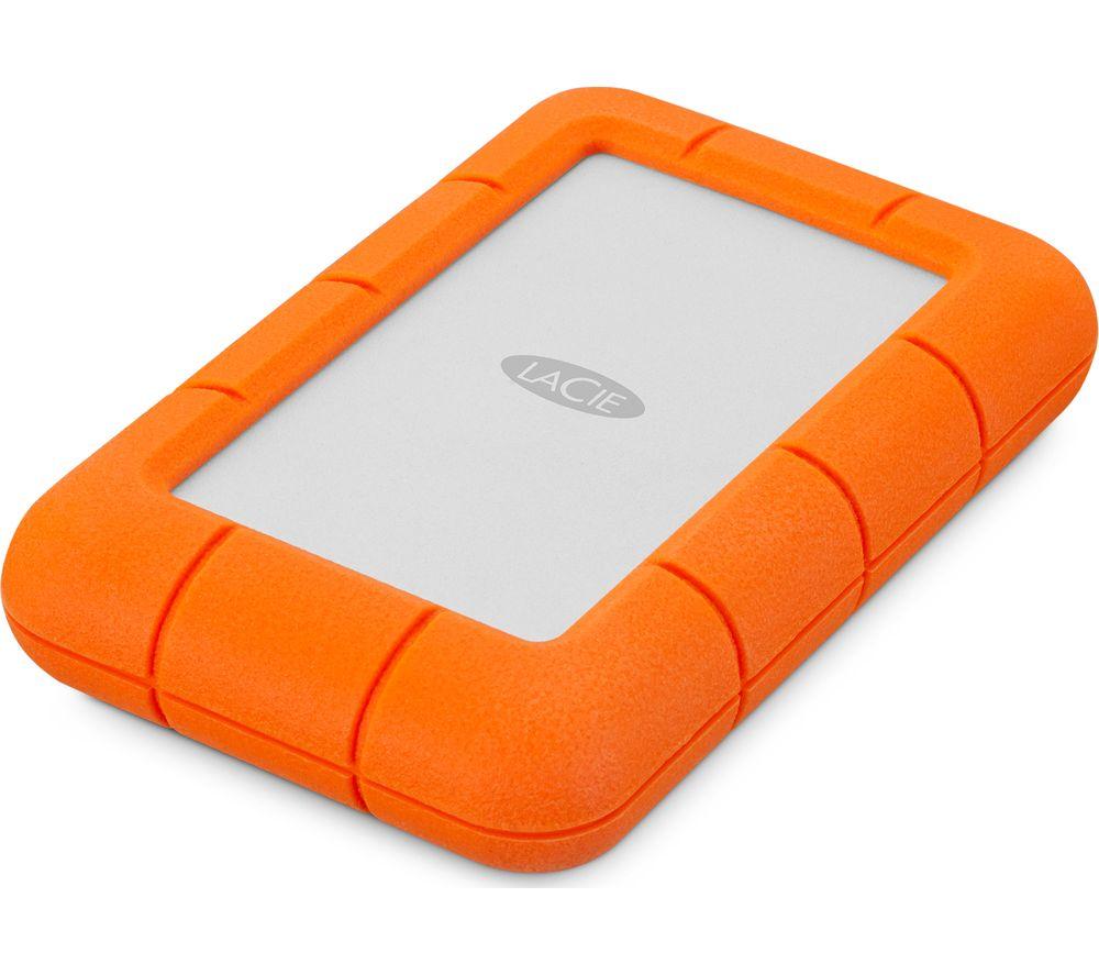 LACIE Rugged Mini Portable Hard Drive for Mac - 1 TB, Orange & Silver
