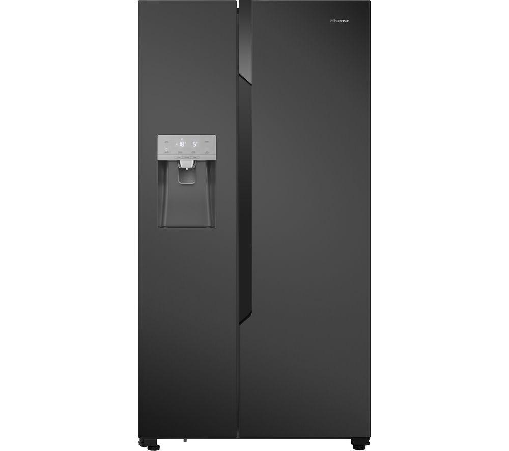 HISENSE American-Style Fridge Freezer Black Steel RS694N4TF1, Black