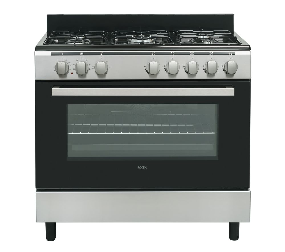 LOGIK LFTG90X18 90 cm Duel Fuel Range Cooker - Stainless Steel, Stainless Steel