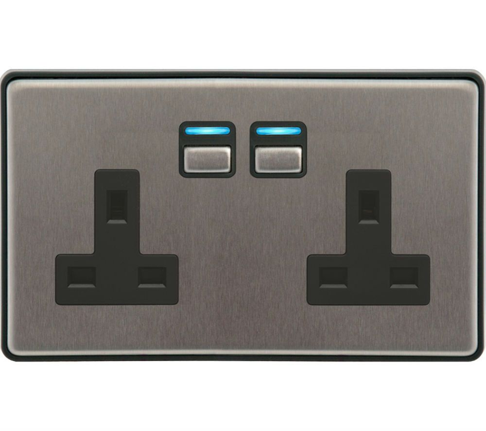 LIGHTWAVE Smart Series 2 Gang Socket - Stainless Steel