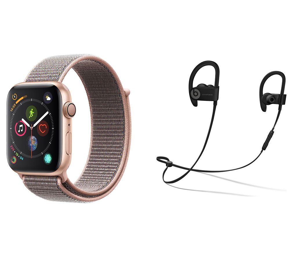 APPLE Watch Series 4 & Beats Powerbeats3 Wireless Bluetooth Headphones Bundle - Gold & Pink Sand Sports Loop, 44 mm, Gold cheapest retail price