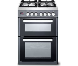 KENWOOD CK234DF SL 60 cm Dual Fuel Cooker - Grey & Chrome