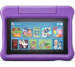 £99.99, AMAZON Fire 7 Kids Edition 7inch Tablet (2019) - 16 GB, Purple, Fire OS 5, Standard resolution screen, 16GB storage: Perfect for apps & photos, Battery life: Up to 7 hours, Add more storage with a microSD card,