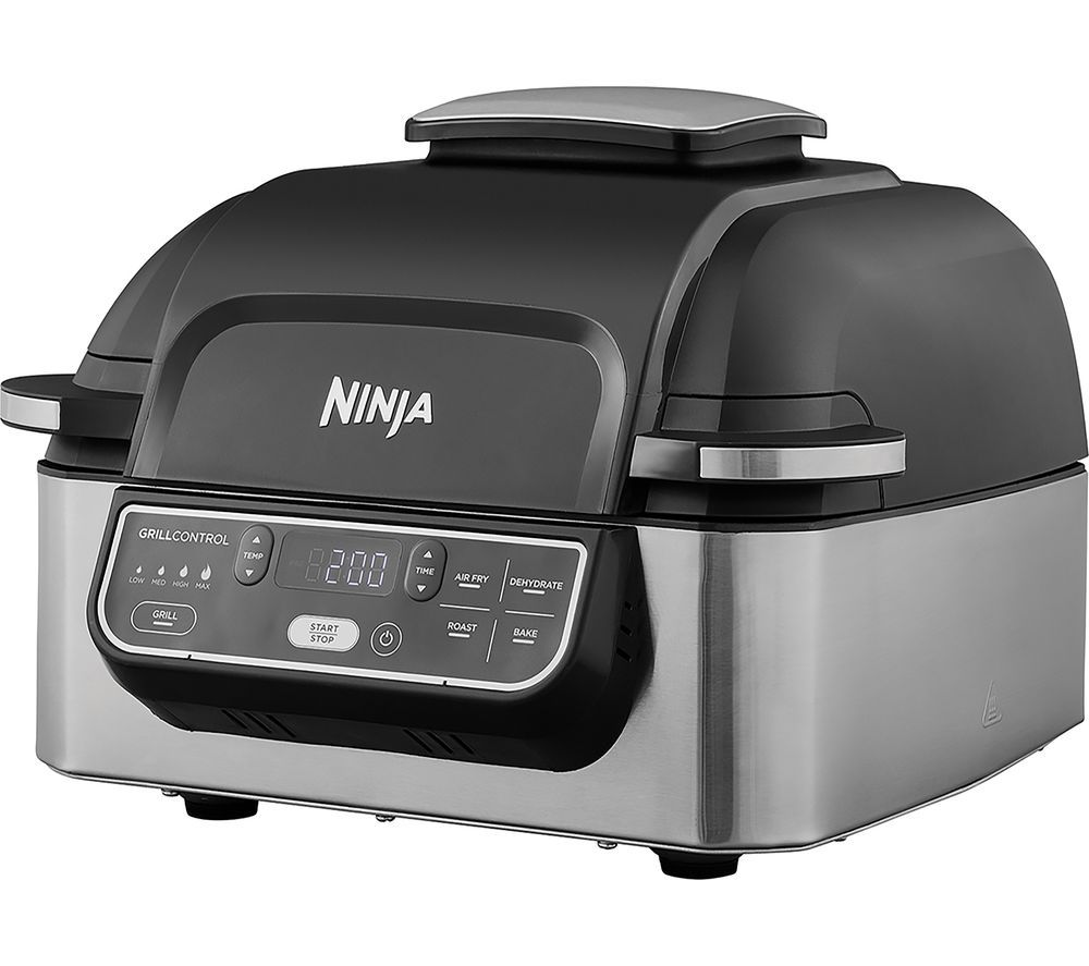 AG301UK Health Grill & Air Fryer - Black & Brushed Steel, Brushed Steel