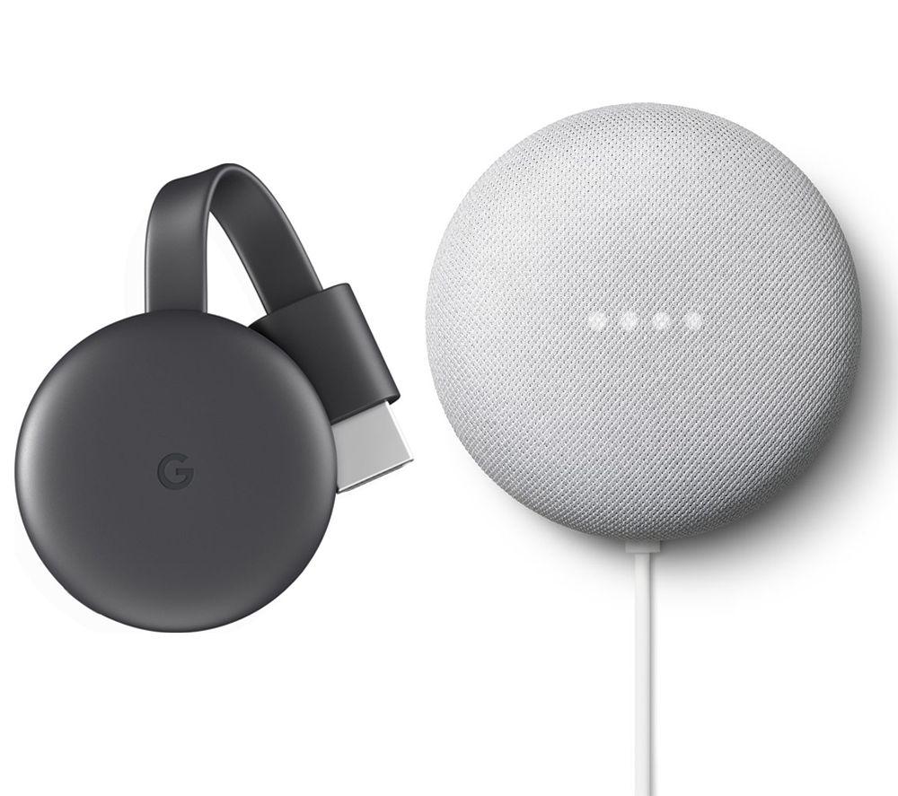 Image of GOOGLE Chalk Nest Mini (2nd Gen) & Chromecast (3rd Gen) Bundle