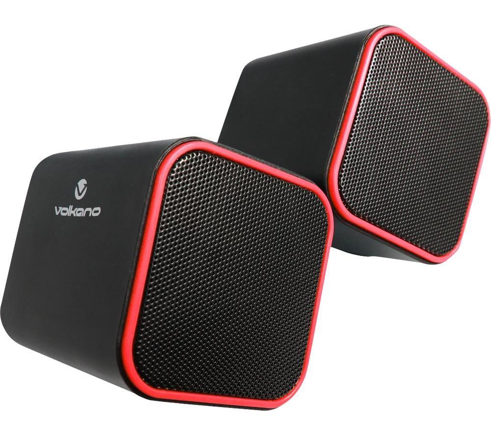 VOLKANO VB-702-RED Diamond Series 2 Stereo Speakers - Red, Pack of 2