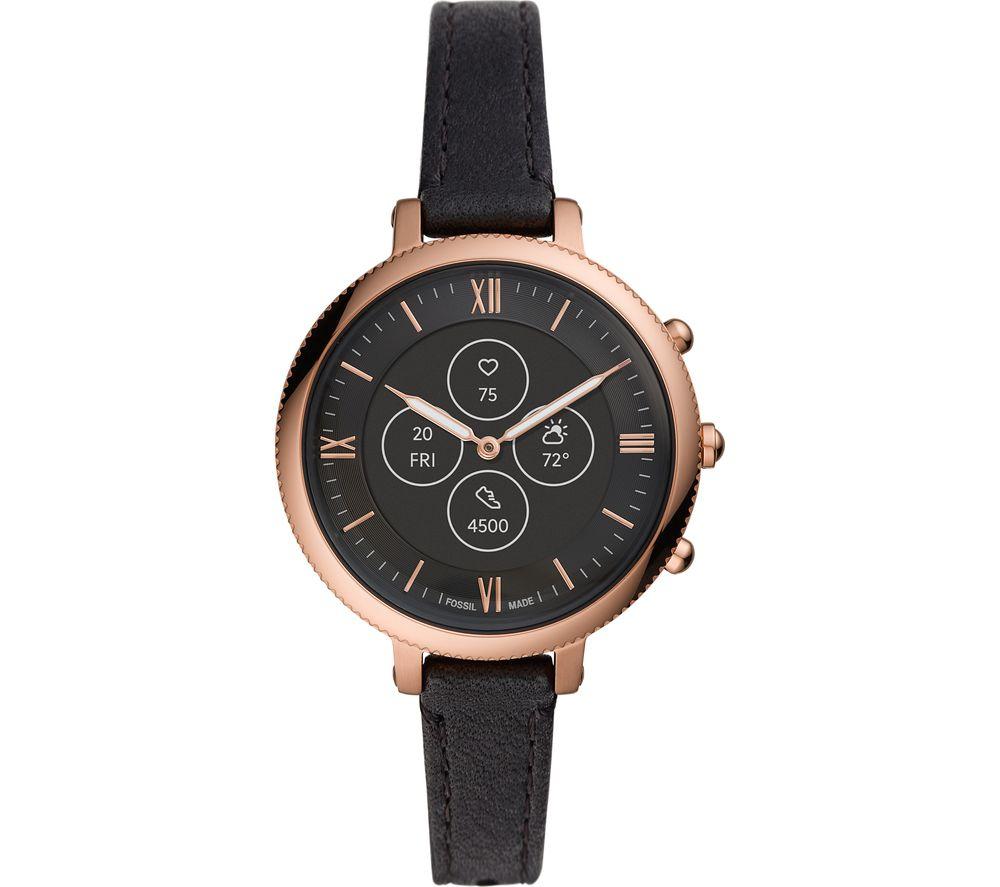 FOSSIL Monroe Hybrid HR FTW7035 Smartwatch - Rose Gold, Black Leather Strap