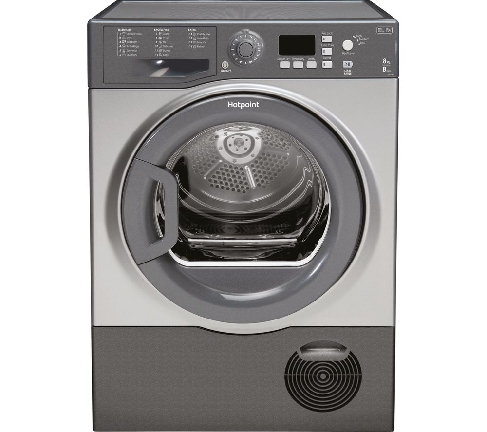 HOTPOINT Aquarius FTCF87BGG Condenser Tumble Dryer - Graphite + WMFUG742P SMART Washing Machine - White
