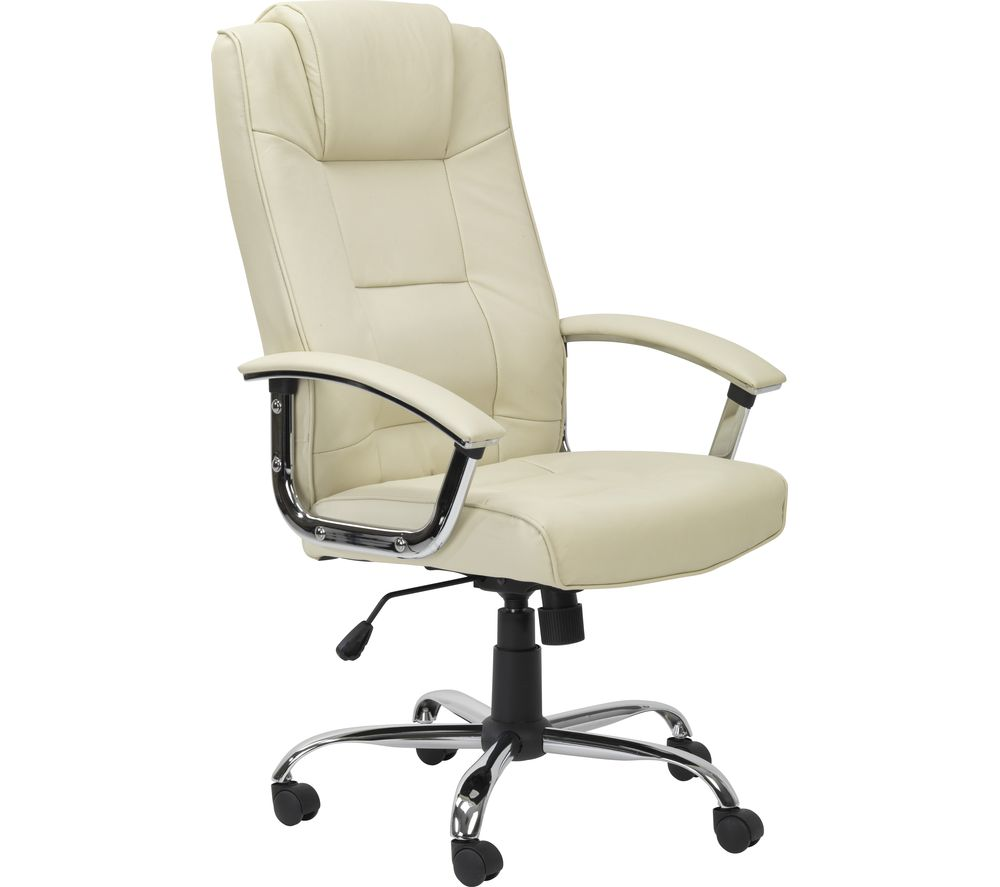 ALPHASON Houston Leather Reclining Executive Chair - Cream