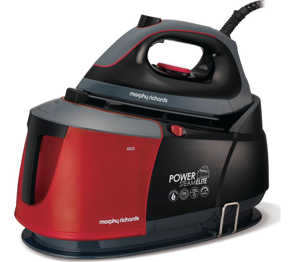 MORPHY RICHARDS Auto-Clean Power Steam Elite 332013 Steam Generator Iron - Black & Red, Black