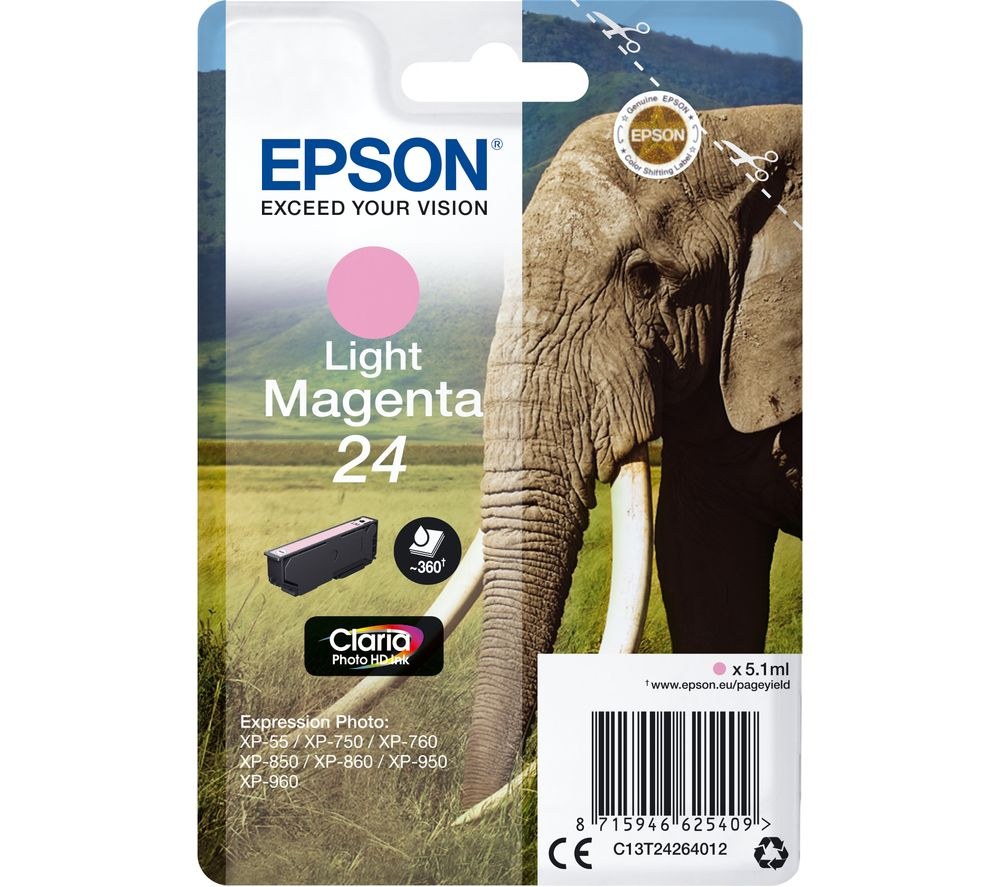 EPSON 24 Elephant Light Magenta Ink Cartridge, Magenta