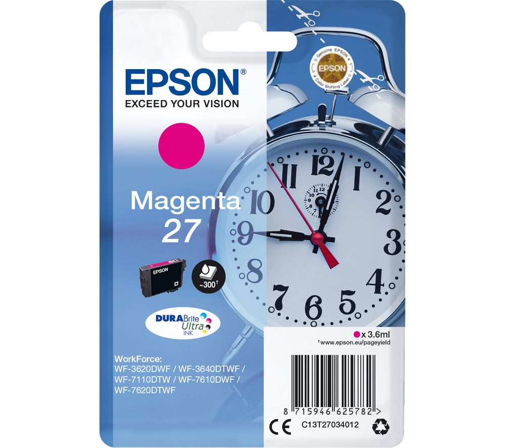 Image of EPSON Alarm Clock 27 Magenta Ink Cartridge, Magenta