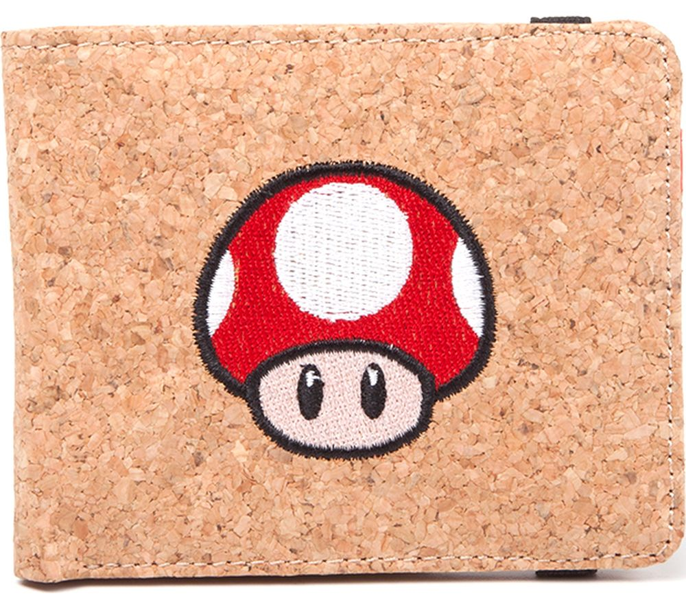 Nintendo Super Mario Mushroom Cork Bifold Wallet Brown Deals Pc