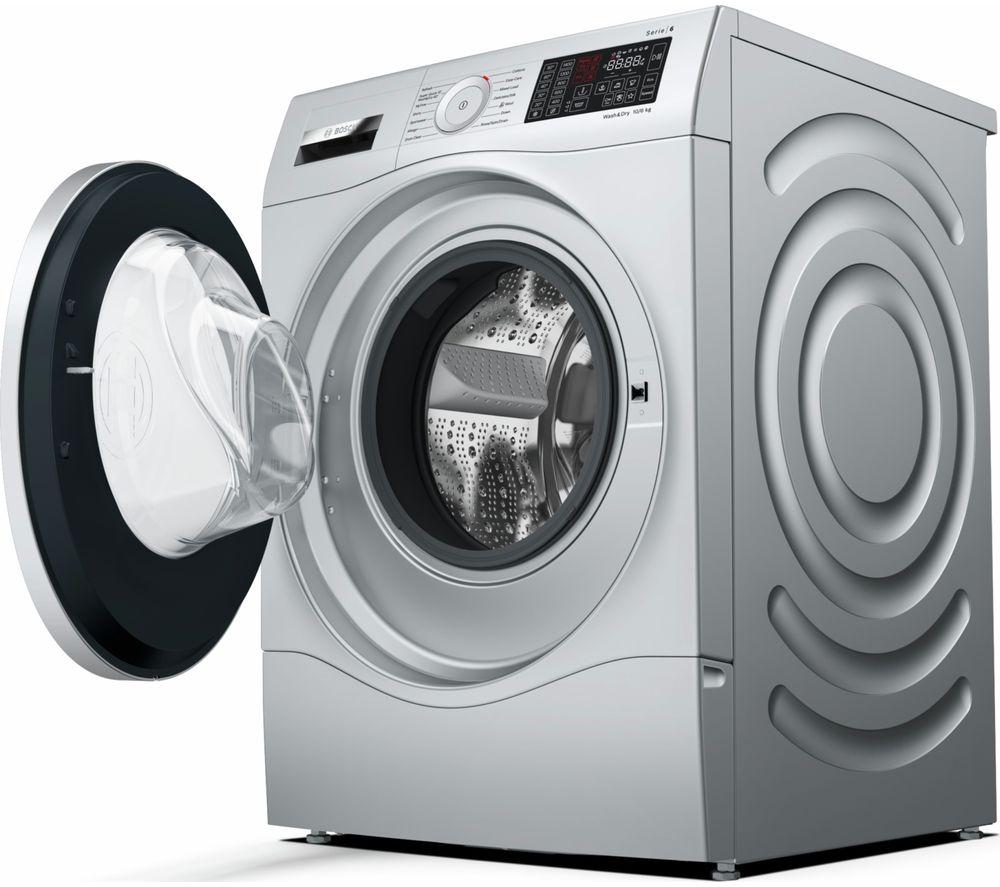 BOSCH Serie 6 WDU28568GB 10 kg Washer Dryer - Silver, Silver