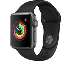 APPLE Watch Series 3 - Space Grey & Black Sports Band, 38 mm