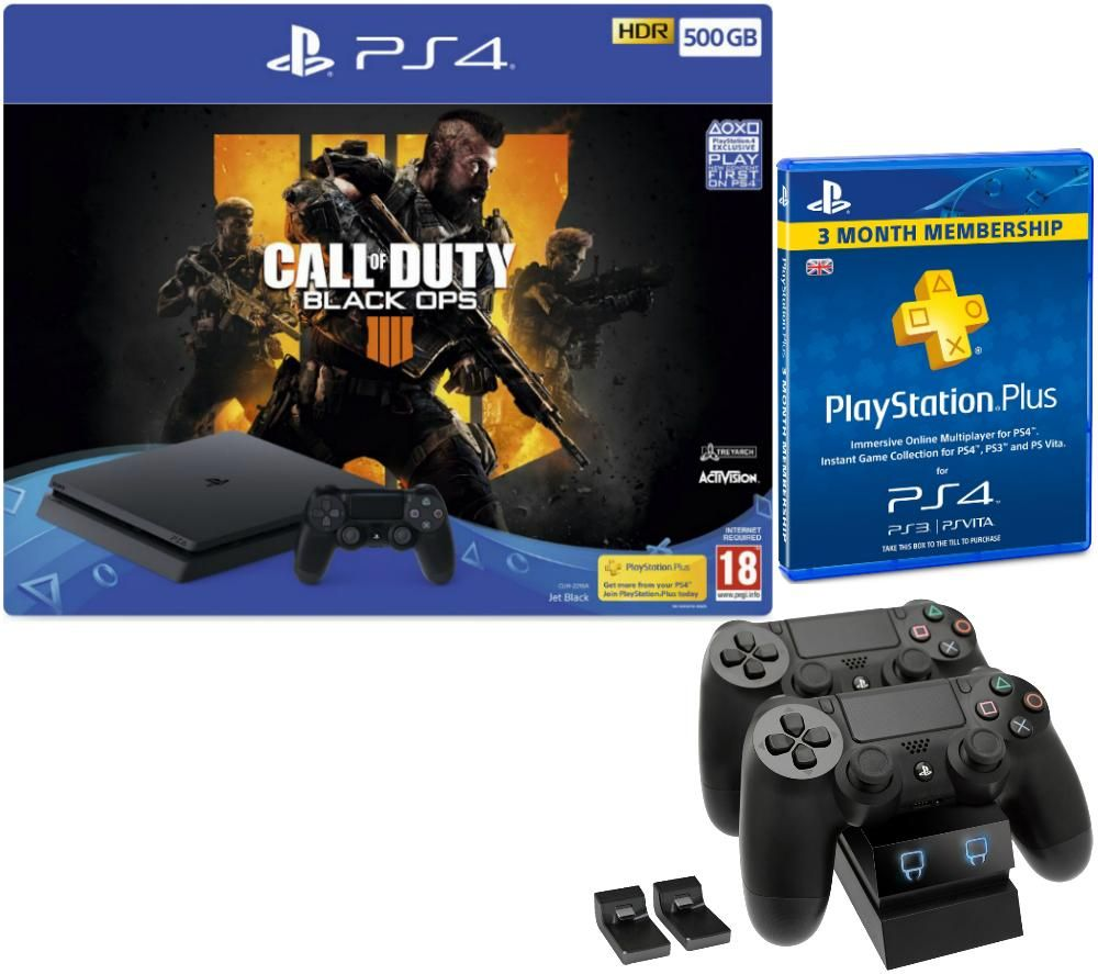 Image of SONY PlayStation 4 500 GB with Call of Duty: Black Ops 4, Docking Station & PlayStation Plus Subscription Bundle, Black