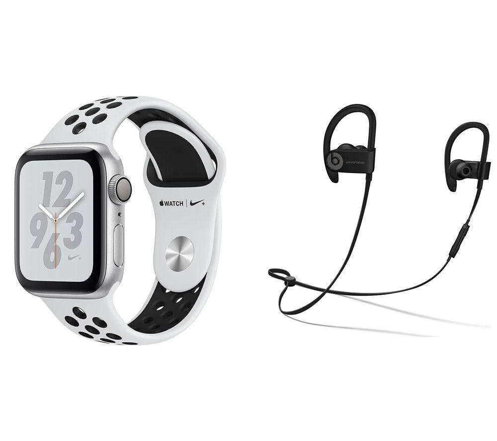 APPLE Watch Nike Series 4 & Powerbeats3 Wireless Bluetooth Headphones Bundle - Silver & Platinum Spo