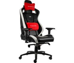 EPIC Real Leather Gaming Chair – Black, White & Red
