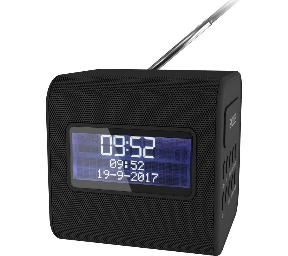 Image of Cube Portable DAB+/FM Clock Radio - Black, Black