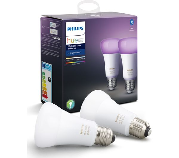 Image of PHILIPS HUE White & Colour Ambiance Bluetooth LED Bulb - E27, Twin Pack