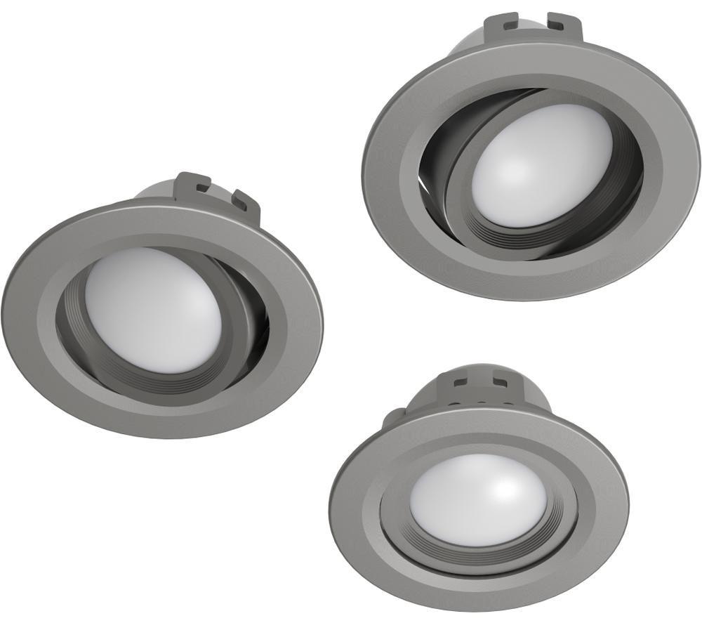 HAMA 176579 LED Built-in Smart Spotlight - Satin Nickel, Pack of 3