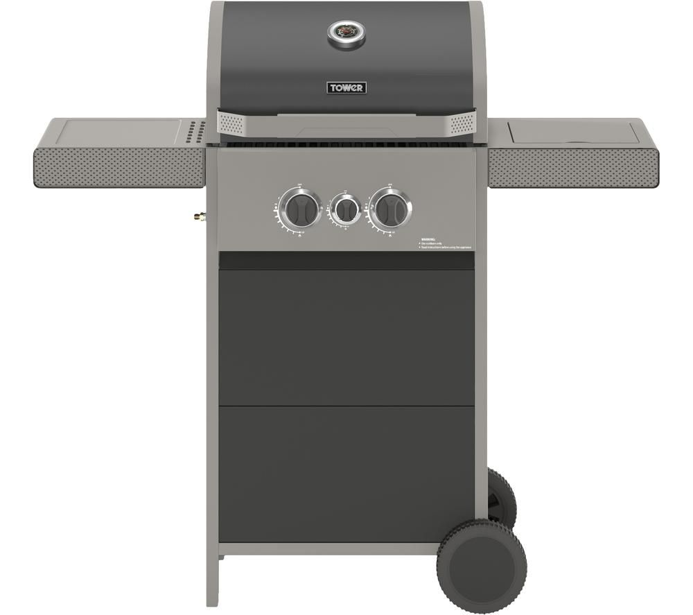 TOWER Stealth 2000 T978500 Portable 2 Burner Grill Gas BBQ - Black