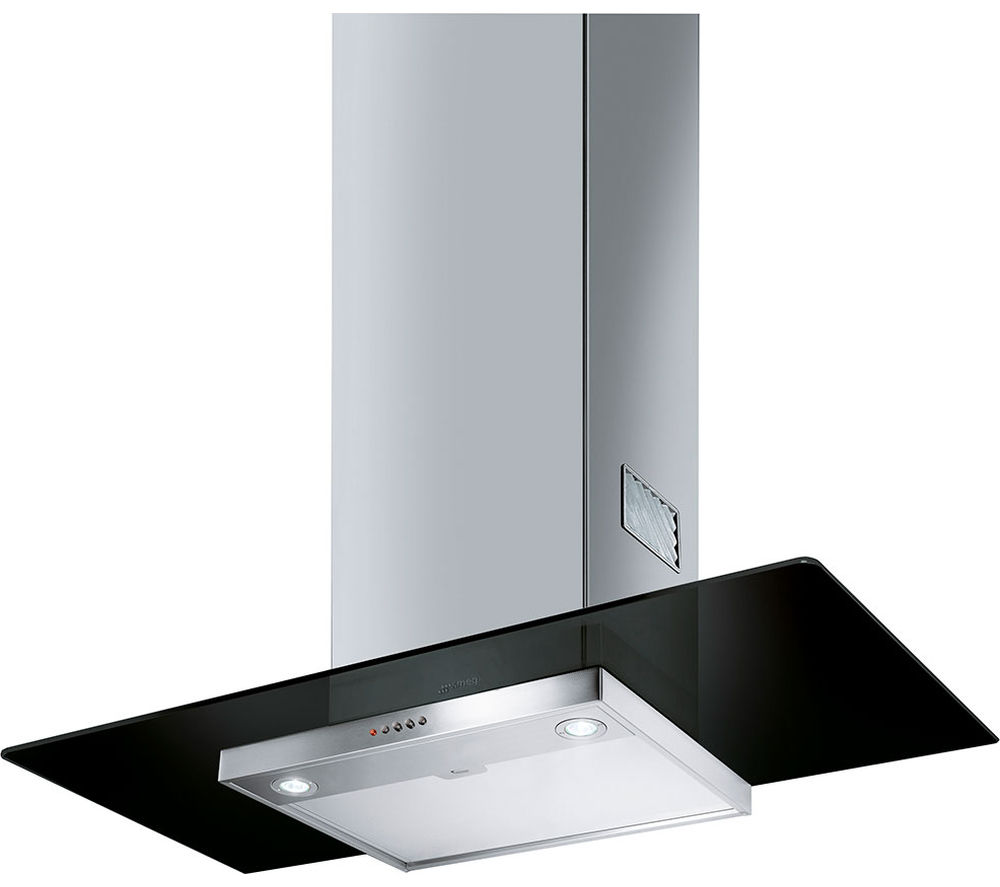 Image of SMEG KFV92DNE Chimney Cooker Hood - Black Glass & Stainless Steel, Stainless Steel