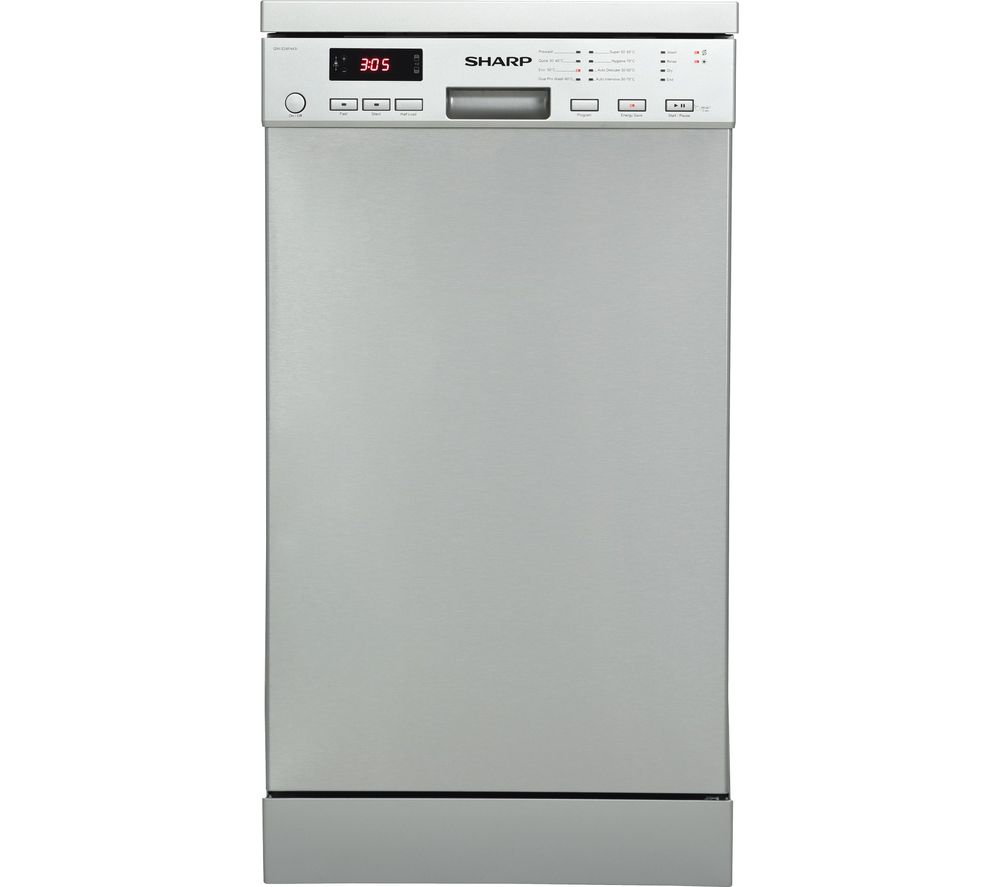 SHARP QW-GT35F444W Full-size Dishwasher – Stainless Steel, Stainless Steel