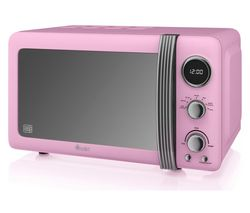 SWAN Retro SM22030PN Solo Microwave - Pink