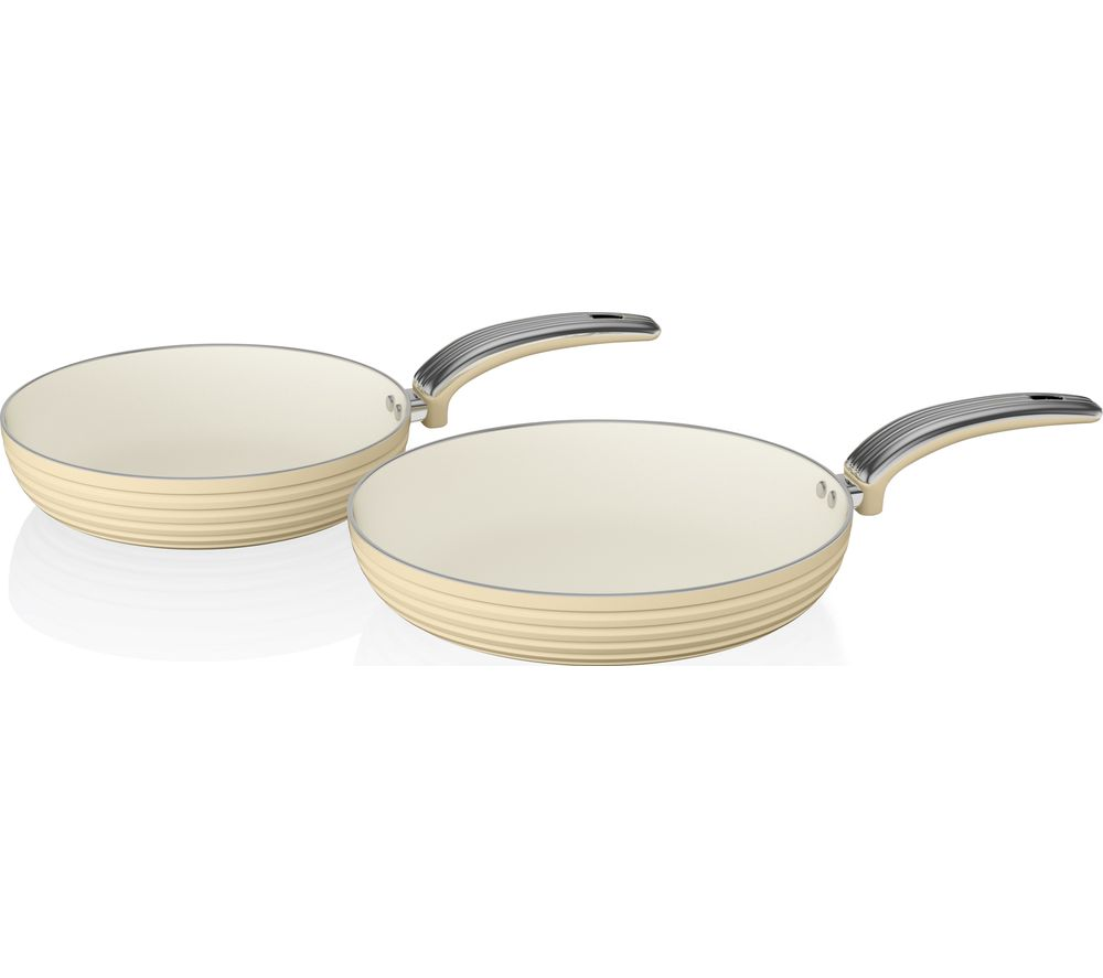 SWAN Retro 2-piece Non-stick Frying Pan Set - Cream