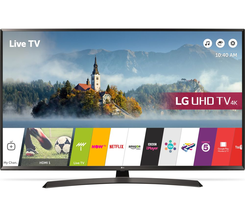"LG 55UJ634V 55"" Smart 4K Ultra HD HDR LED TV + S1HDM315 HDMI Cable with Ethernet - 1 m"
