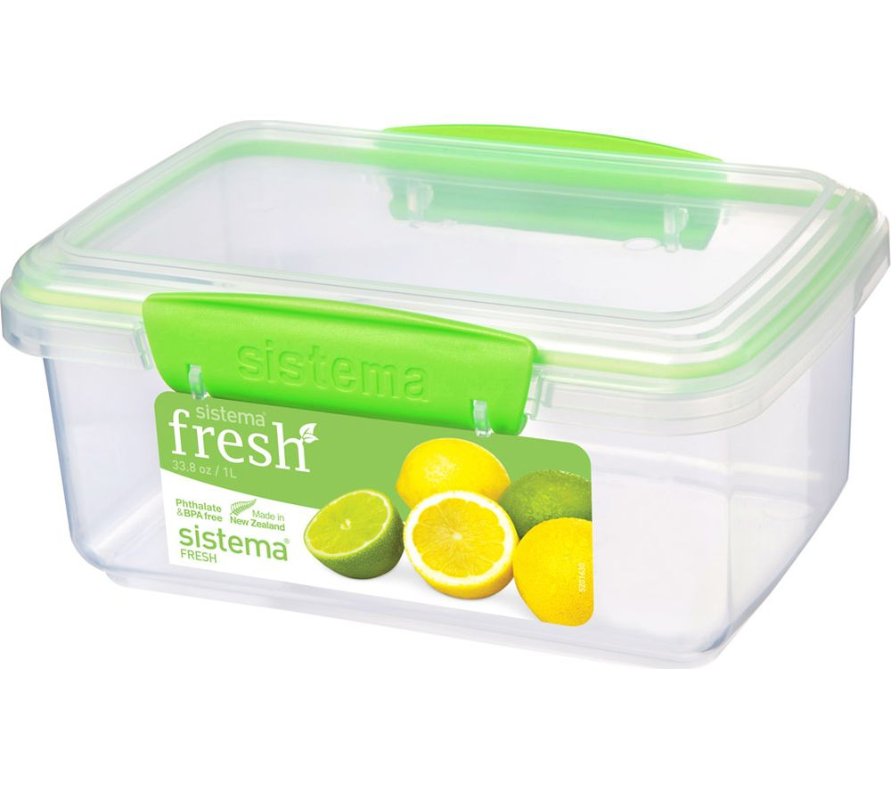 SISTEMA Fresh Rectangular 1 litre Container - Green