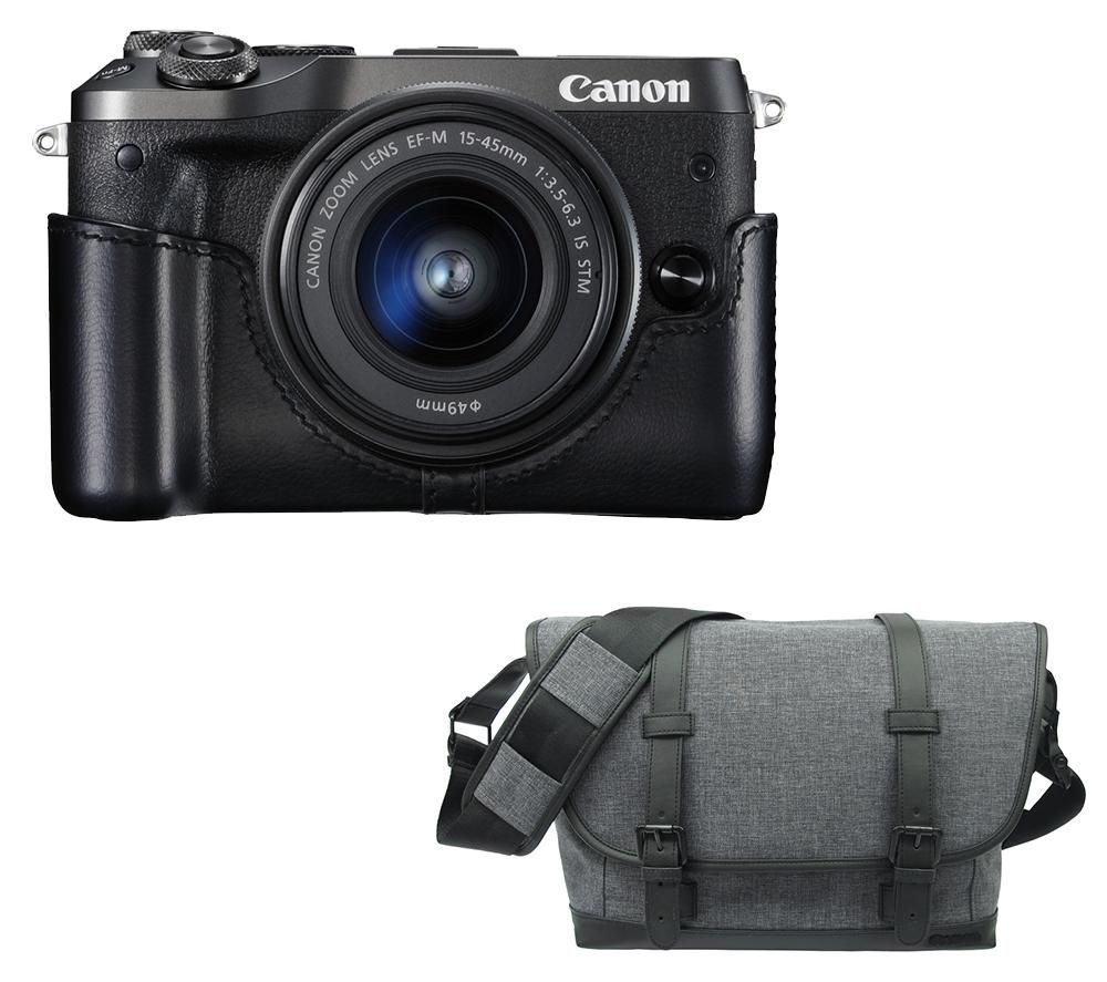 CANON EOS M6 Mirrorless Camera with 15-45 mm f/3.5-6.3 Lens & Bag Bundle