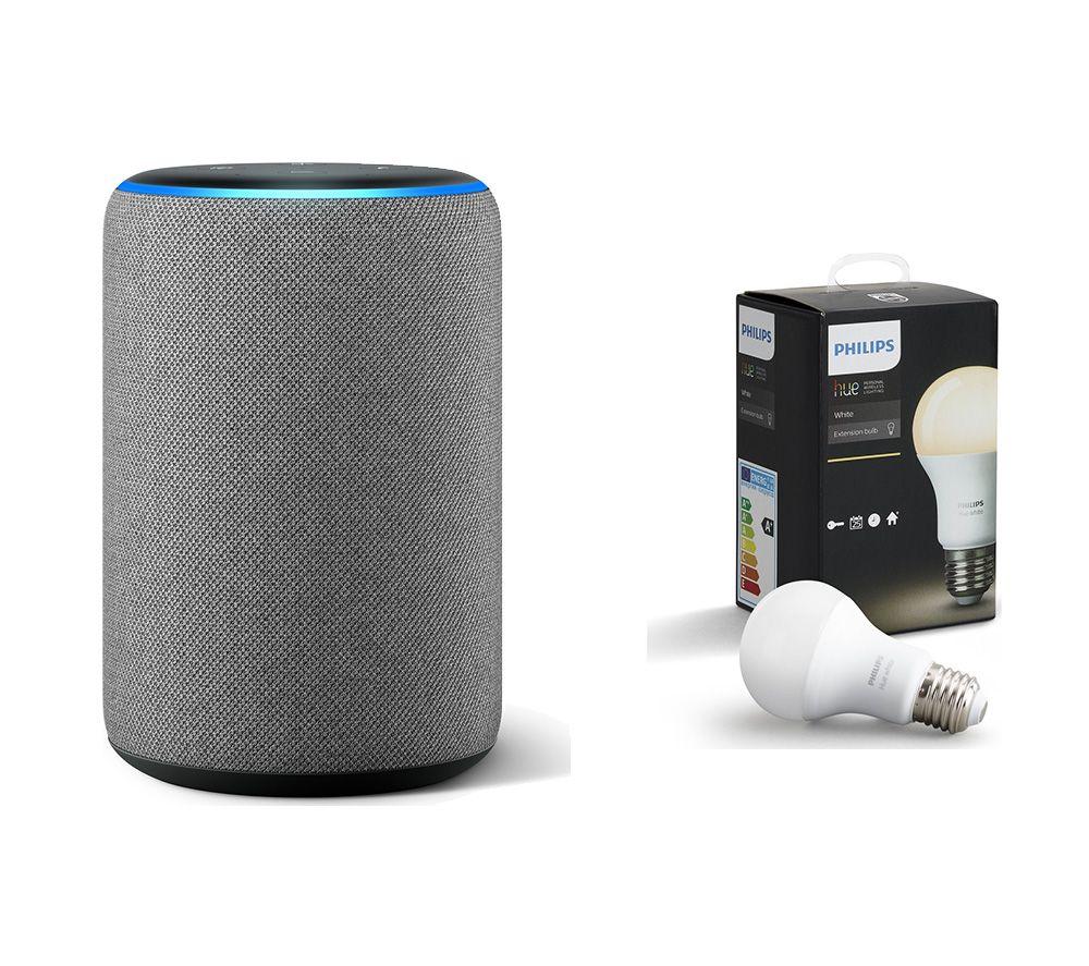 AMAZON Echo Plus (2018) & E27 Hue White Smart LED Bulb Bundle - Grey